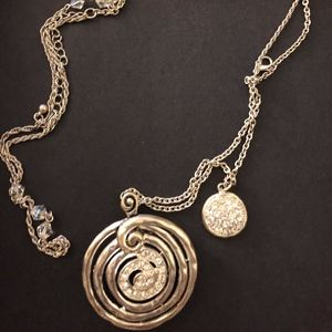 Silver Tone crystal circle necklace